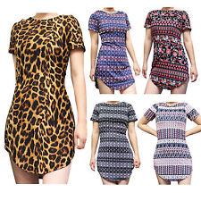 USA Women's Boatneck Tunic Short Sleeve Top Shirt Blouse Dress S M L XL Plus