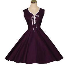Women Retro Rockabilly 50s 60s Swing Vintage Style Cotton Party Dress Purple