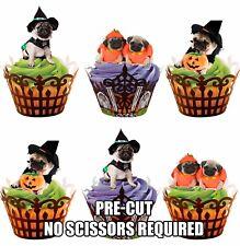 Pre-Cut Halloween Cup Cake Toppers Pugs Comestible Torta Decoraciones Fiesta De Halloween