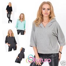 Ladies Hoodie Wth Zipper & Pockets 3/4 Sleeve Top Jumper One Size 8 - 12 FA389