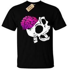 Esqueleto cerebros Camiseta para hombre S-5XL rock cráneo Goth Zombie Biker