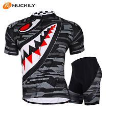 Men's Mountain Bike Sports Short Sleeves Cycling Jersey Bicycle Shorts Set Gray
