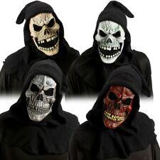 Totenkopf Maske mit Kaputze rot-braun weiß Halloween Horror Skull Tod gruselig