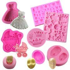 Molde silicona fondant chocolate fimo jabón muñecas princesas coronas caras moña