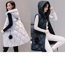 Winter Women Down Vest Jacket Padded Coat Ladies Slim Long Hooded Parka Outwear