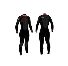 swimming wetsuit COMBINAISON wommen FEMME 4/3MM OCEAN STEP BLACK/FLURO CAF8201