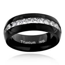 Black Titanium High Polish Clear Princess Cubic Zirconia Men's Wedding Band