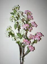 Artificial Flowers - Silk Pink Or Cream Cherry Blossom Flowering Spray Stem 82cm