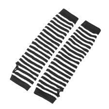 Pair White Black Stripes Acrylic Fingerless Arm Warmers Gloves for Women B1R4