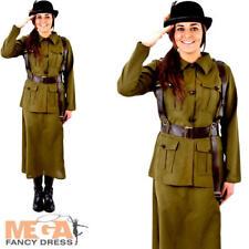 Army 1940s Ladies Fancy Dress WW2 40s Military Uniform Womens Adults Costume New