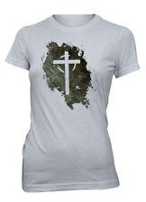 AproJes Jesus Vive Cruz Vacia Grunge Easter Pascua Camiseta Cristiana Mujer