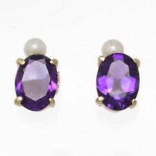 14k Yellow Gold Genuine Oval purple Amethyst & Cultured Pearl Stud Earrings TPJ