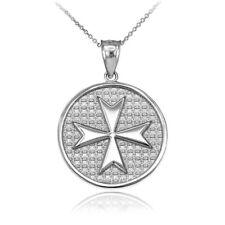 Sterling Silver Knights Templar Maltese Cross Medallion Pendant Necklace