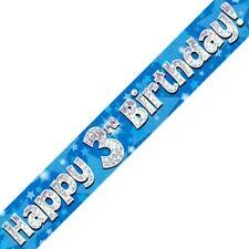 Azul Happy 3rd Cumpleaños METALIZADO Letrero De Fiesta Decoración Estrellas