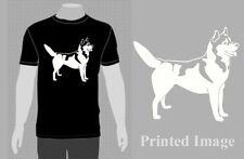 SLED DOG SPIRIT SIBERIAN HUSKY SILHOUETTE PERSONALISED T SHIRT HUSKIES MUSH GIFT