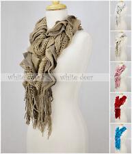 Knitted Sashay Ruffled Fluffy Winter Scarf Crochet Multi Layer Fishnet Tear Drop