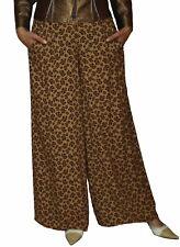 SAVE THE QUEEN Pantalon Femmes Coupe Droite continue Coupe fleuris Marron S M L XL.