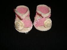NEWBORN BABY GIRL SUMMER DOUBLE SOLE SHOES BOOTIES SANDALS HANDMADE CROCHET