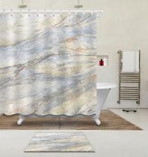 "72"" Marble Texture Shower Curtain Liner Bathroom Mat Set Watercolor Fabric Hooks"