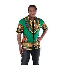 Traditional Short Sleeve Dress Shirt Top African dashiki print Green XLarge L M