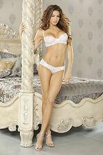 White Honeymoon Embroidery Detail Bra & Panty w/Bow & Veil. Bridal Lingerie