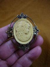 (cm103-1) GIRL daisy flowers hair Resin CAMEO Pin pendant Jewelry