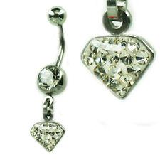 EPOXY Crystal Bauchnabel Piercing Diamant Anhänger viele Kristalle beschichtet