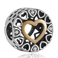925 plata esterlina Círculo de Amor encanto corazón de oro pulsera de marca europea se ajusta
