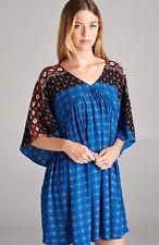 VELZERA BLACK ROYAL BLUE LOOSE FIT BOHO GYPSY BABYDOLL BLOUSE SHIRT TUNIC S M L