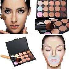 15 Farben Contour Concealer Gesicht Make-up Palette + Pinsel Schwamm puff Beauty