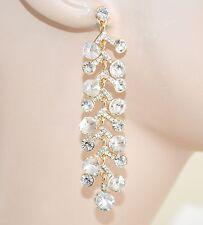 ORECCHINI ORO donna cristalli strass pendenti eleganti da sposa da cerimonia E10