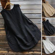 ZANZEA 8-24 Women Crewneck Pullover Cotton Linen Top Tee Shirt Sleeveless Blouse