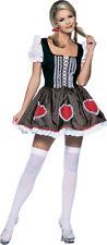 Oktoberfest Fraulein Sexy Br/Blk/Red Leg Avenue Mini Dress W/ Hearts Costume