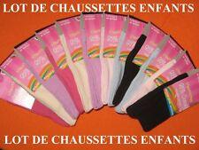LOT DE 6 A 12 PAIRES DE CHAUSSETTES FILLES - COTON - Plusieurs tailles dispo