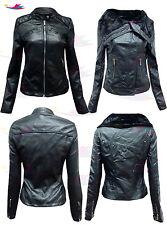 Bottes femme noires en cuir synthétique pu fourrure en cuir zippée Veste de motard Lot Taille 8-16