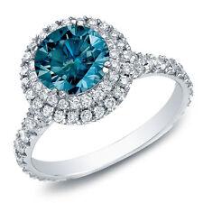 2ct Blue Halo Split-shank Round Diamond Engagament Ring 14K White Gold
