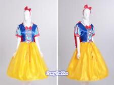 Ladies Princess Snow White Costume Party Gown Fancy Dress+ Cape