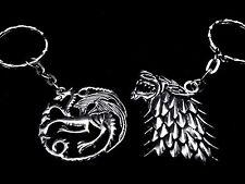 Wolf / Direwolf Head Keyring - Game of Thrones Inspired - Stark Sigil