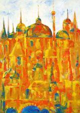 Gemälde Acryl Original Abstrakt Stadtlandschaft Signiert Dom Datiert 50x70 Neu