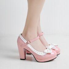 Lolita Women Bowtie High Heels Oxford Pumps Leather Retro Dress Shoes Mary Jane