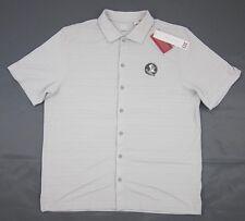 NEW! Cutter & Buck Florida State CB DryTec Camp Shirt Light Grey S, XL