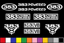383 CI V8 POWERED 10 DECAL SET ENGINE STICKERS EMBLEMS FENDER BADGE DECALS