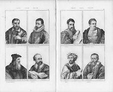 Stampe antiche RITRATTI di  otto ITALIANI ILLUSTRI 1845