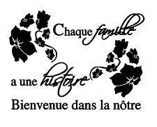 """Sticker Mural Texte """"Chaque Famille a une Histoire..."""",Fleur(30x40cm à 60x80cm)"""