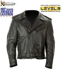 Mens Premium American Naked Leather Armored Motorcycle Biker Jacket 4XL REG $350