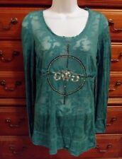 GWG Girls With Guns Sheer LS Tee Shirt Teal w/ Rhinestones Fitted 171146