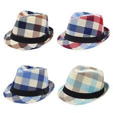 Premium Multi Color Plaid Stitch Black Band Fedora Hat - Different Colors