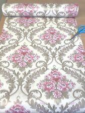 DAMASK STICKY BACK PLASTIC FABLON FLORAL ROSE SHABBY CHIC VINTAGE CREAM BEIGE UK