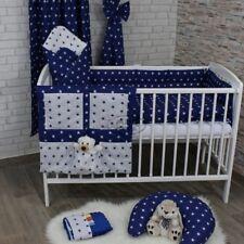 Set Di Biancheria Da Letto Vivaio Baby 2-7 pcs120x90-135x100-150x120 Stelle Bianco/Blu Marino Tende