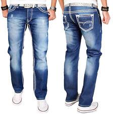 A. Salvarini Herren Designer Jeans Hose dicke weisse Zier Nähte denim blau AS011